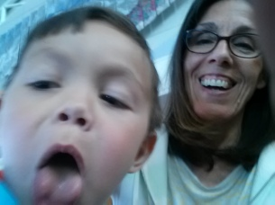 Nana and Paul - funny faces at the Boise airport